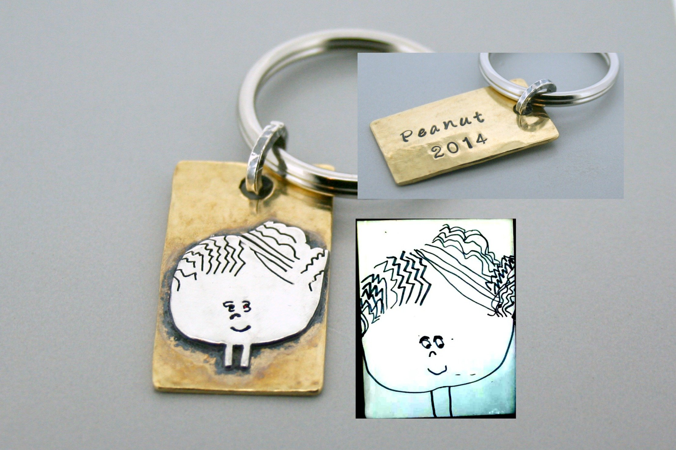 Silver and Brass Child Drawing Keychain