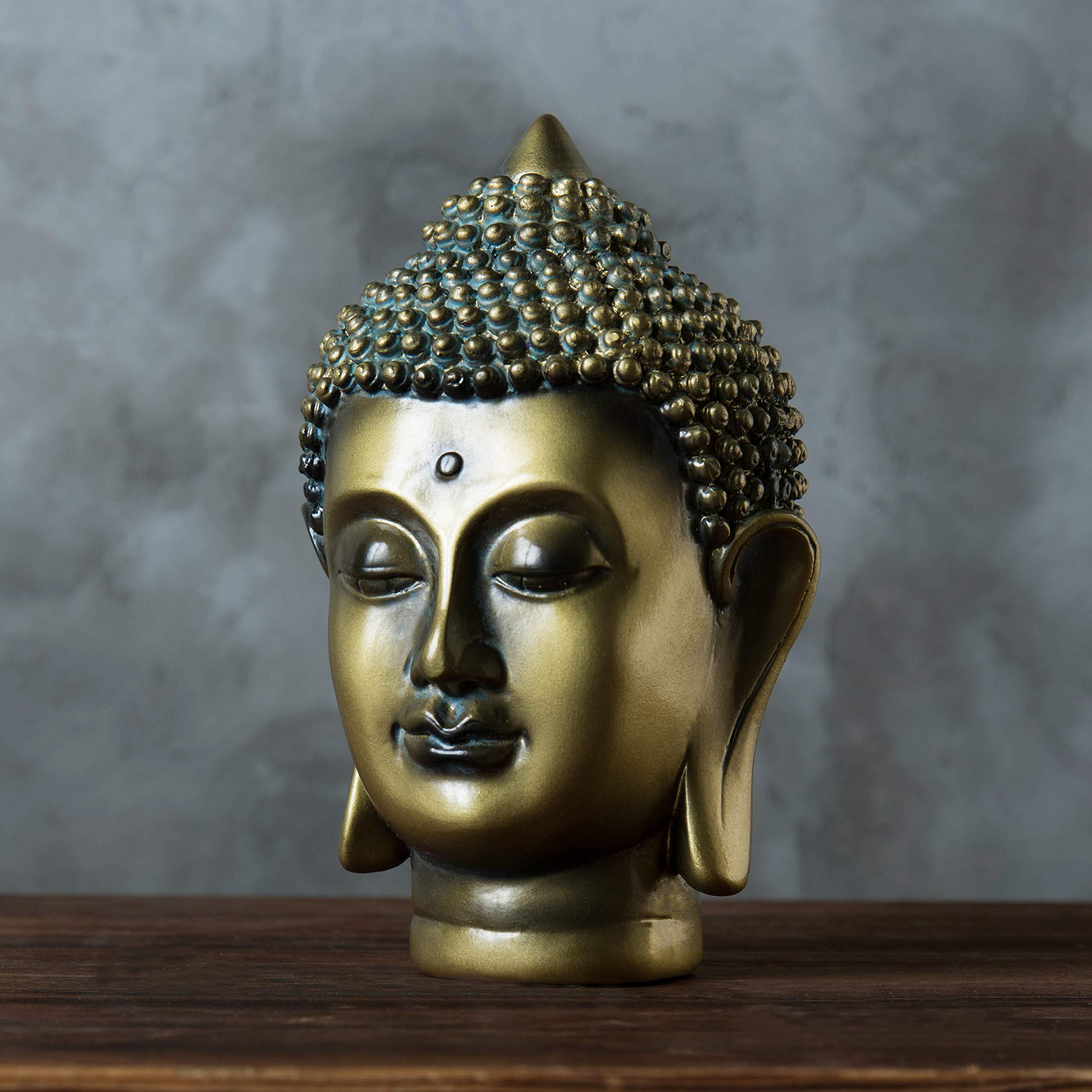 MyGift 6-Inch Gold-Tone Resin Meditating Buddha Head Statuette by MyGift