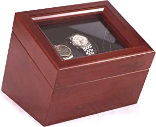 product image for American Chest Corp. WW02C The Admiral, Double Watch Solid Cherry Featuring 4 Winder Programs, Multicolor