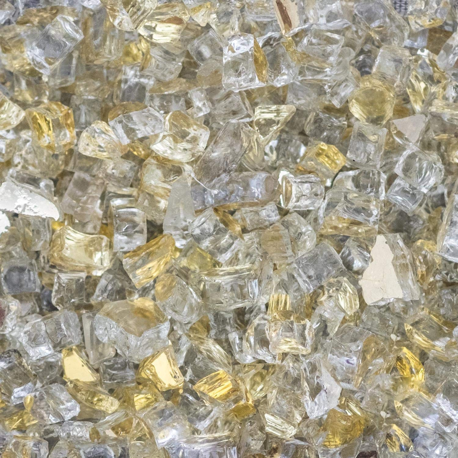 Lakeview Outdoor Designs 1/2-Inch White Gold Reflective Fire Glass - 100 Pounds