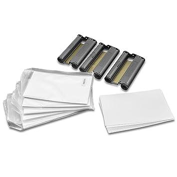 vhbw – 3 cartuchos de tinta cartucho de tinta Incluye Papel cian, magenta, amarillo para impresora fotográfica Canon Selphy CP de 820, CP de 900, CP ...