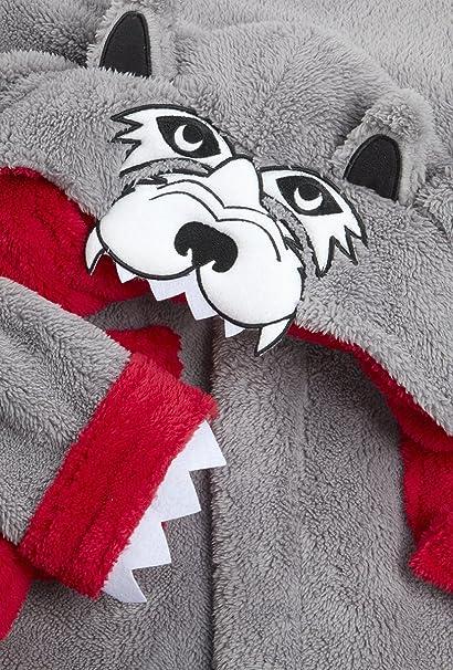 Niño cara de lobo Con capucha Para acurrucarse Bata con cola Albornoz tallas desde 7 a 13 Años - Gris, 13 Years: Amazon.es: Ropa y accesorios