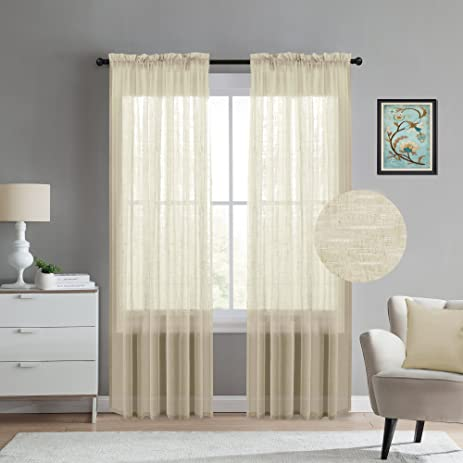 Rich Linen Sheer Curtains For Living Room Open Weave Linen Semi Sheer Privacy  Curtains 108 Inch