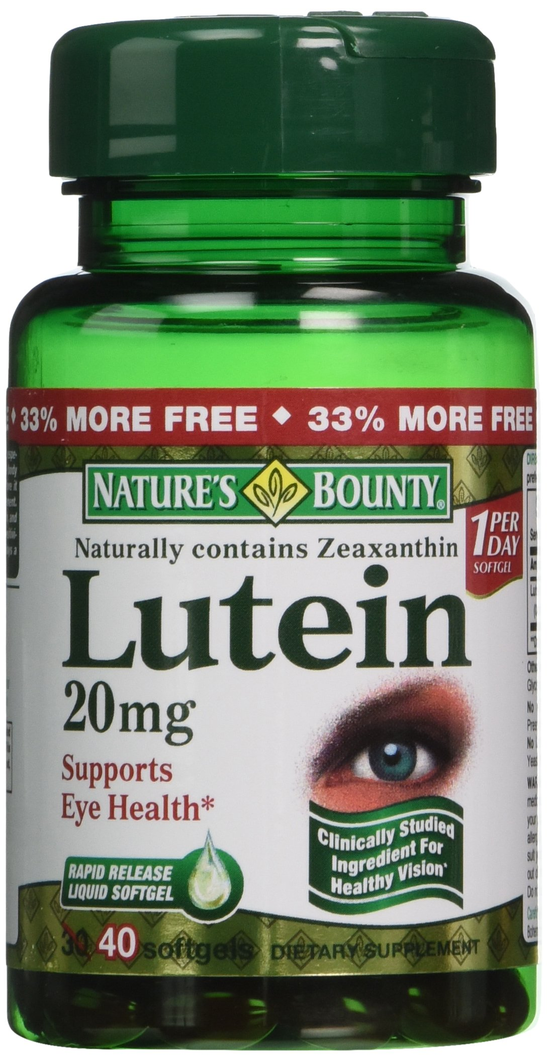 Nature's Bounty Lutein 20mg, 40 Softgels (Pack of 4) by Nature's Bounty