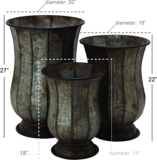 Silver//Black Deco 79 49200 Iron Pedestal Bowl Planters Set of 2