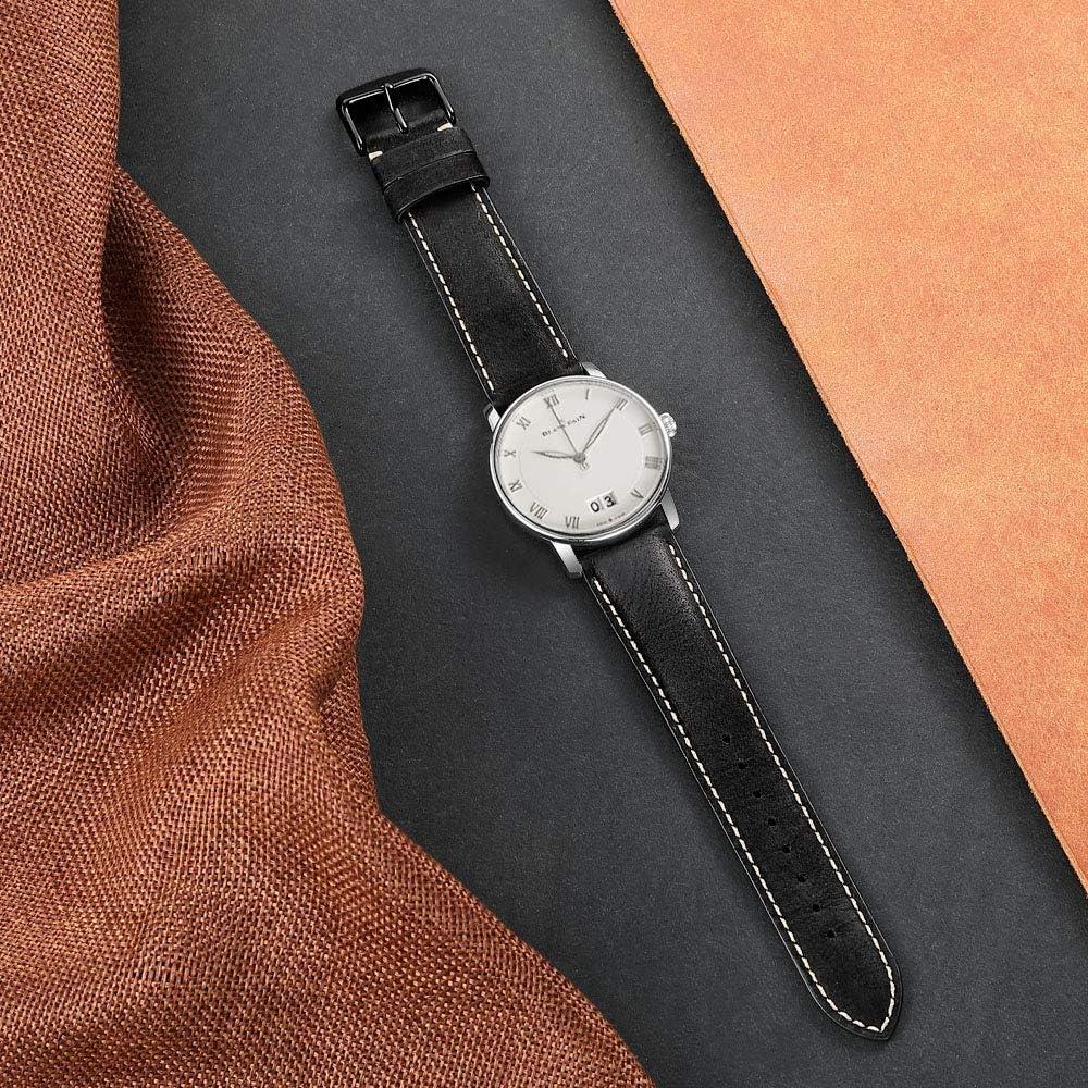iStrap Bracelet de Montre Leather Montre Bracelet en Cuir de Veau de Remplacement 18mm 19mm 20mm 21mm 22mm Super Soft pour Homme pour Femme Black With Black Buckle
