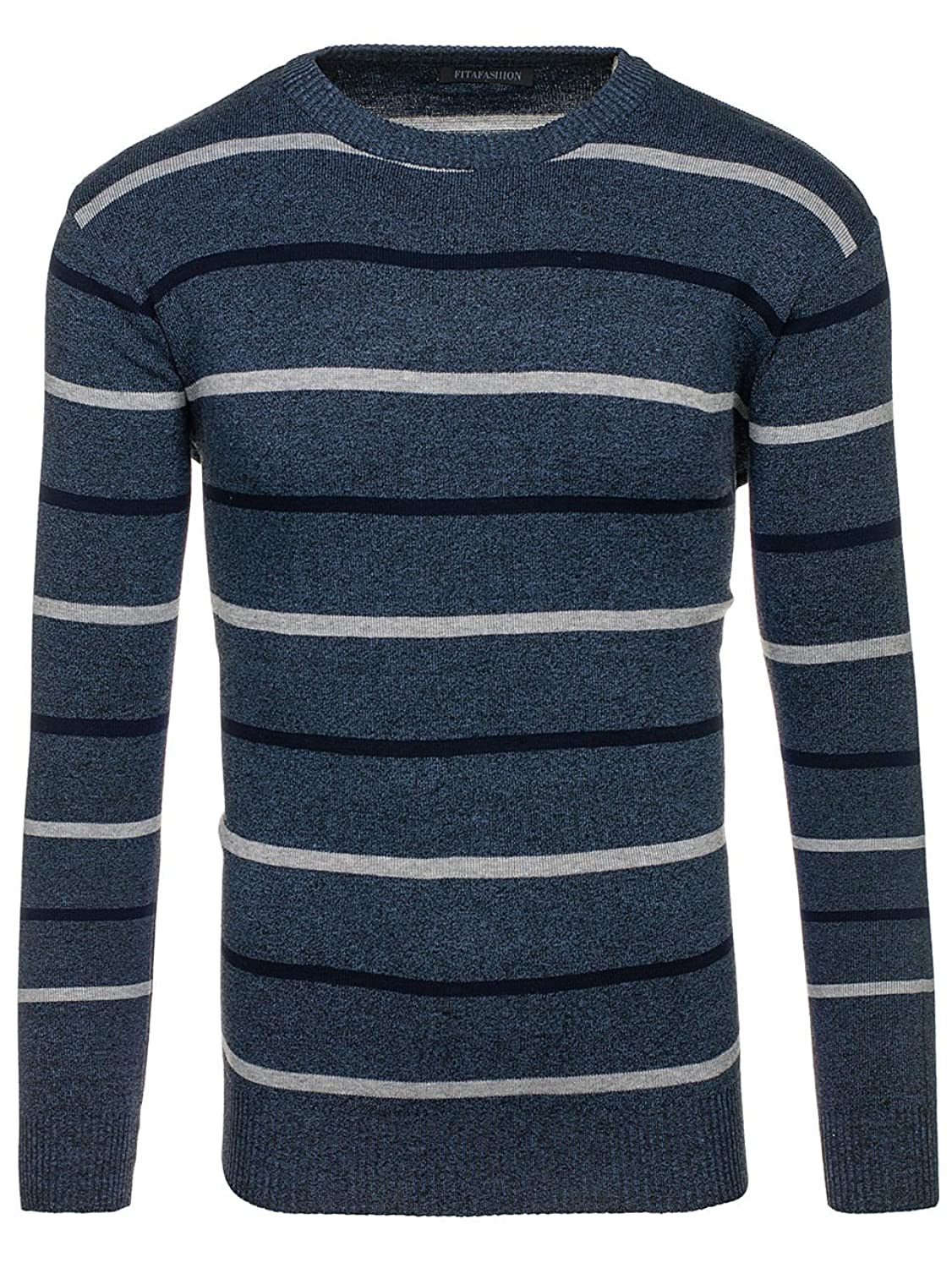 BOLF Men's Striped Jumper Knitwear Ribbed Sweater Patterned Casual Fita  Fashion HG1722 Light Navy Blue L [5E5]: Amazon.co.uk: Clothing