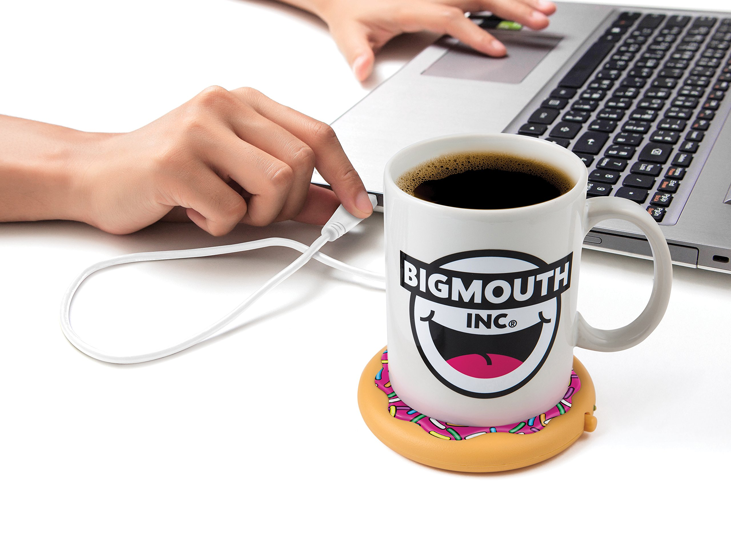 BigMouth Inc Coffee and a Donut USB Mug Warmer, Keeps Coffee Hot, Compatible with Most Computers, On/Off Button
