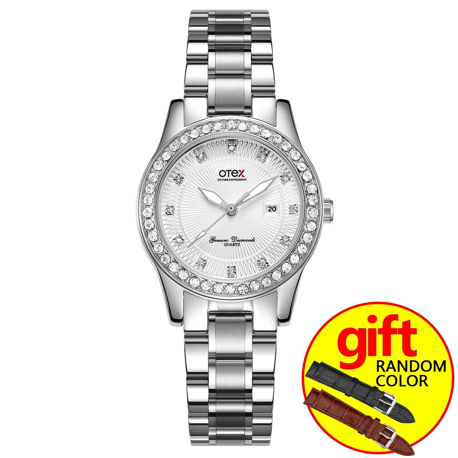 Luxury Full Diamond Lady Watch Rhinestone Stainless Steel Band Bracelet Wristwatch (Silver White)