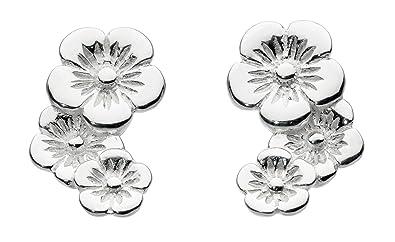 4e9908863 Dew Sterling Silver Cupped Flower Cascade Earrings: Amazon.co.uk: Jewellery