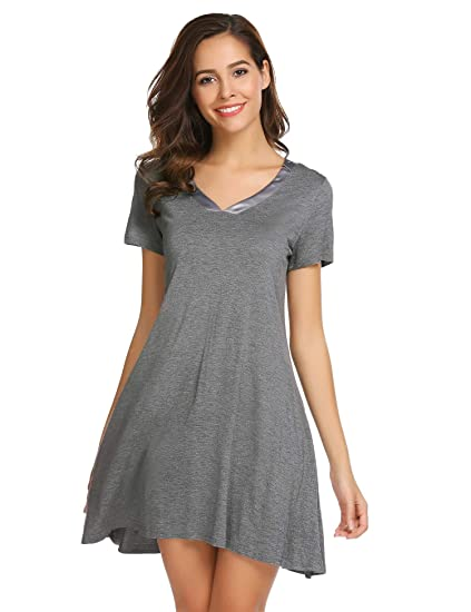 105843d0ed Image Unavailable. Image not available for. Color  Bulges Women s Short  Sleeve Nightshirt V-Neck Loose Nightgown