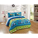 Luxury Home Collection Kids/Toddlers/Boys 5 Piece Twin Size Multicolor Comforter Bedding Set/Bed in A Bag with Sheets…