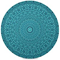 HESLING Round Placemats Set of 4 Table Placemats Heat Protection Pad Teal Boho Mandala