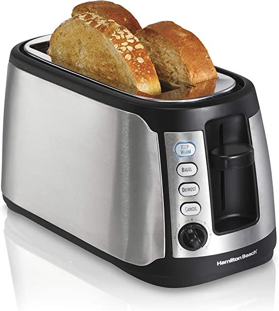 Hamilton Beach 4 Slice Extra Wide Long Slot Stainless Steel Toaster with Keep Warm