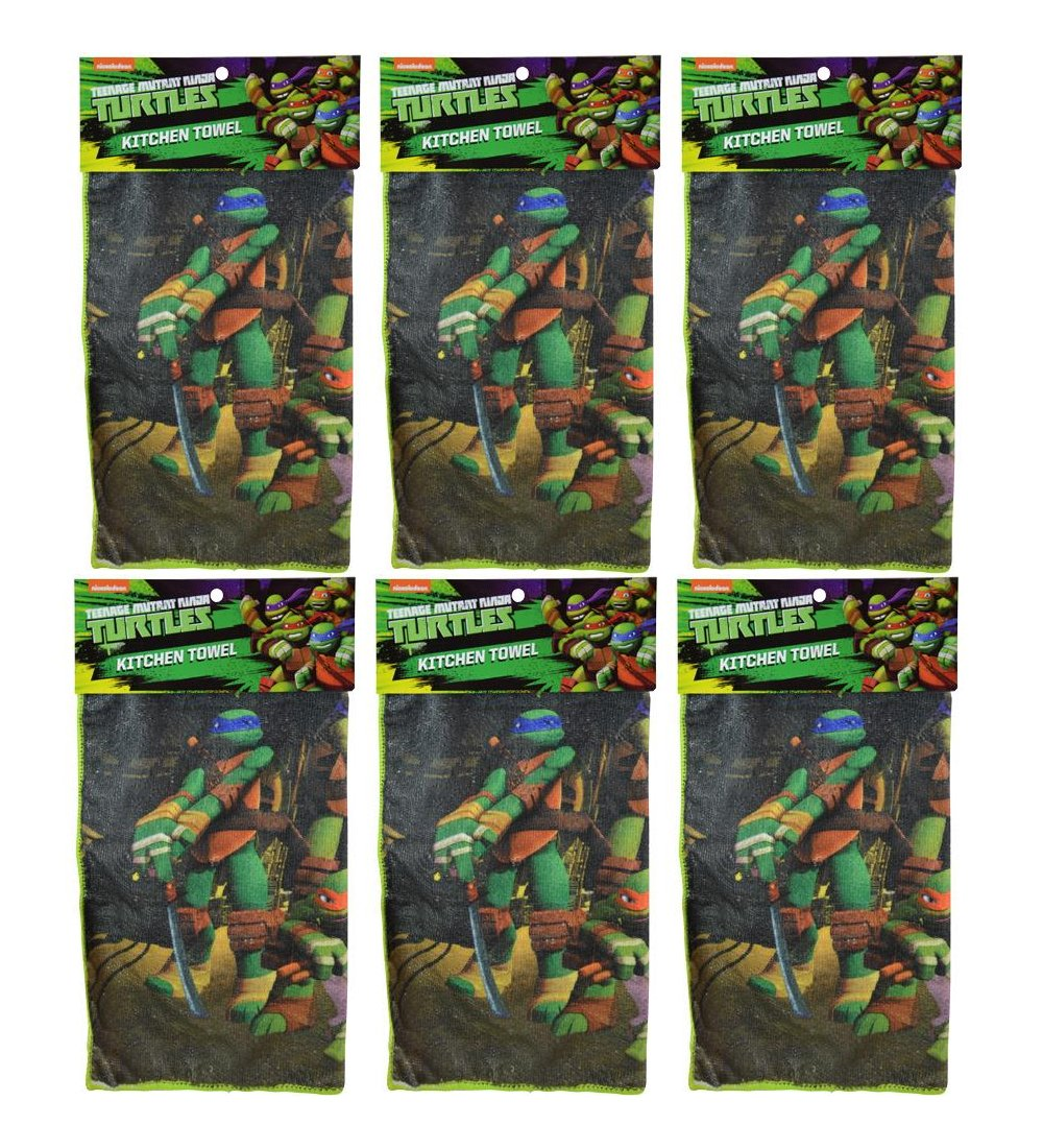 "6-Pack Teenage Mutant Ninja Turtles 16x16"" Microfiber Hand Towel Kitchen Dishcloths"