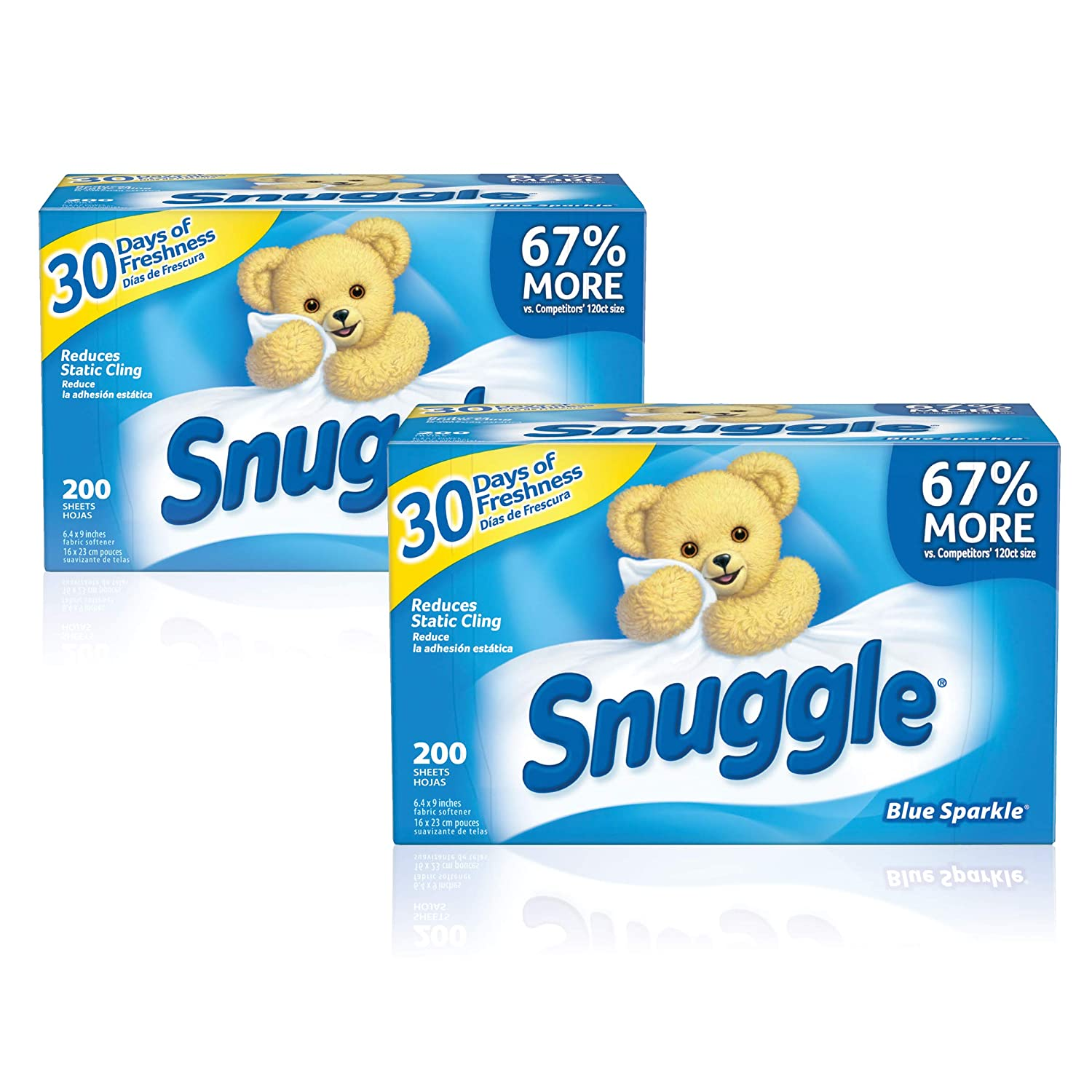 Snuggle Fabric Softener Dryer Sheets, Blue Sparkle, 2 Boxes, 400 Count