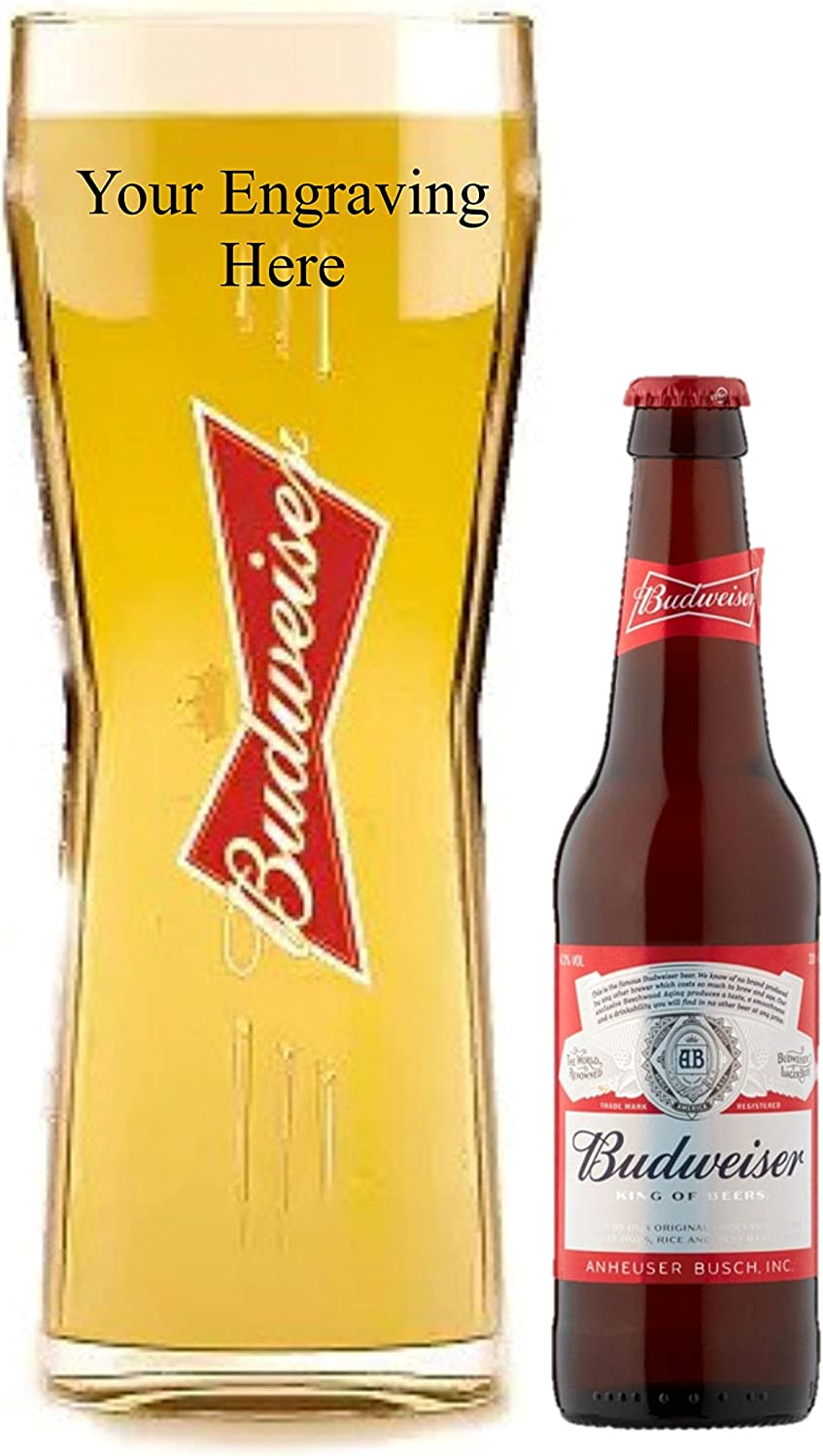 Personalised Engraved Budweiser Pint Glass With 300 Ml Bottle Of Budwiser Lager In Silk Lined Gift Box Amazon Co Uk Beer Wine Spirits