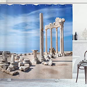 Ambesonne Antique Shower Curtain, Ancient Greek Building Clear Blue Sky Historical Place and Ruins Cultural Heritage, Cloth Fabric Bathroom Decor Set with Hooks, 84 Inches Long Extra, Beige Blue