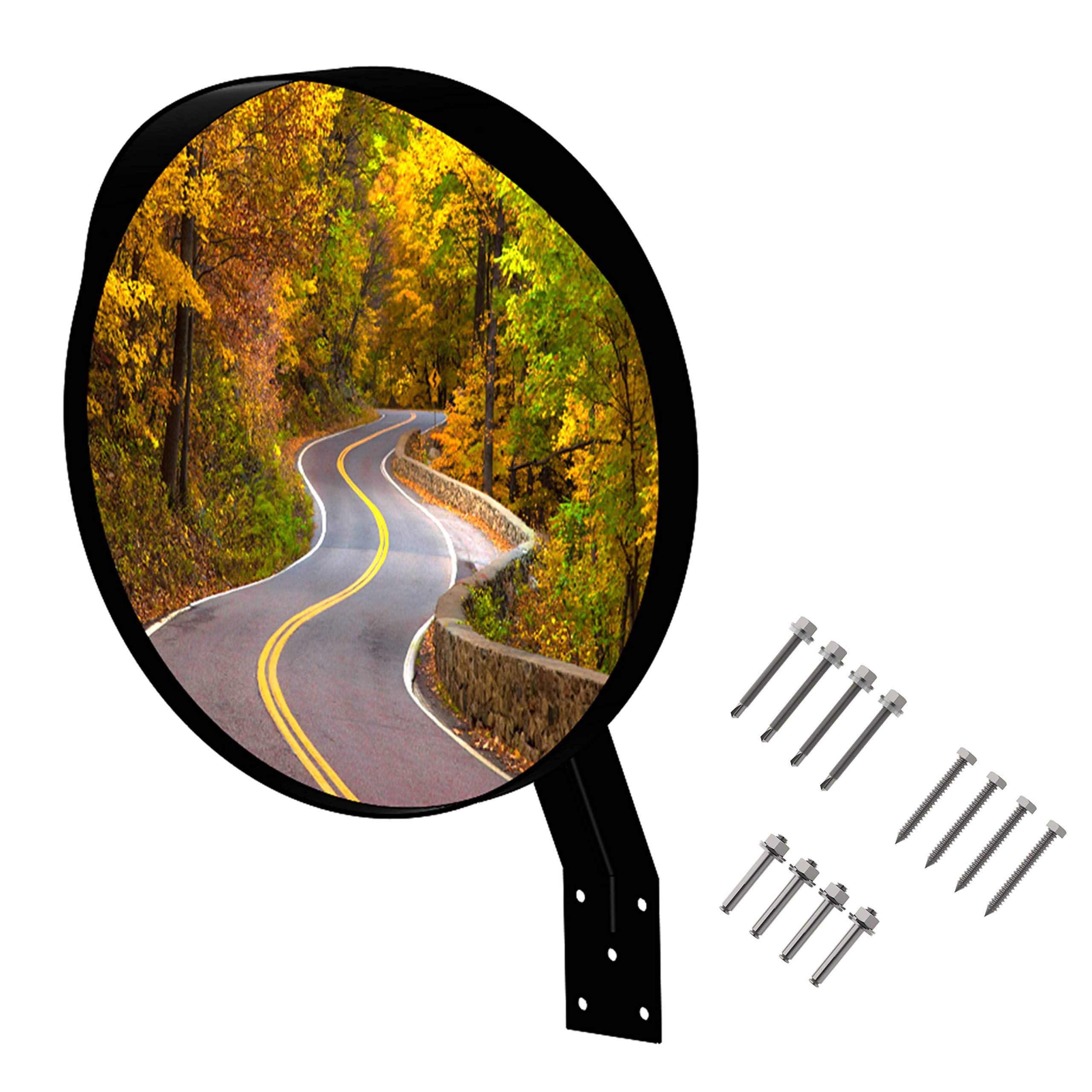 16 inch Convex Mirror, Wide Angle View, Premium Quality, Curved Security Mirror for Many uses. Bonus! Contains 3 Sets of Screws to Mount on Any Surface!
