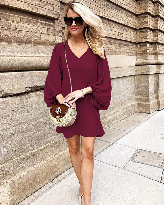 SOLERSUN Women Casual Chiffon Tunic Dress Long Sleeve V Neck Loose Flowy Swing Dresses