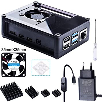 Bruphny Caja para Raspberry Pi 4 con 35mm Ventilador, Cargador de 5V / 3A USB-C, 4 X Disipador, Compatible con Raspberry Pi 4 Modelo B (Gran ...