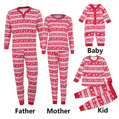 72fc98e2d5 Amazon.com  Family Matching Pajamas Sets Christmas Pajamas Outfit Holiday  Clothes Christmas Deer PJ Sets Mom Dad Kids Sleepwear  Clothing