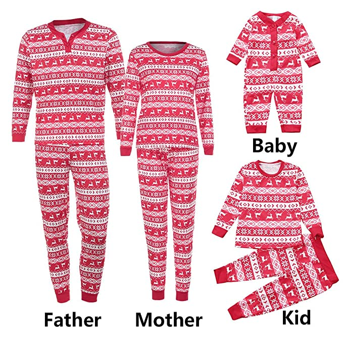 SUNBIBE🎅Family Christmas Pajamas Set Long Sleeves Snowflake Deer Print  Sleepwear Nightwear Parent Child Family a73caa099