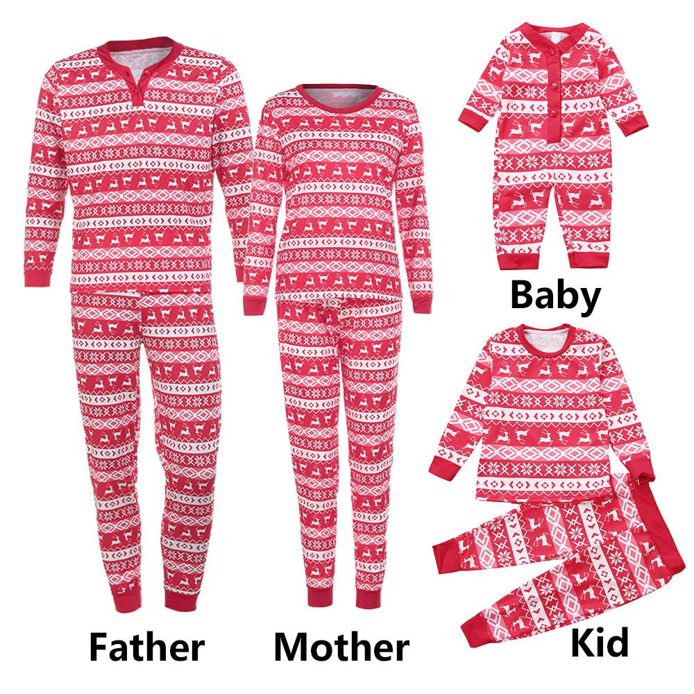 Christmas Family Matching Pajamas Set - Deer Print Top+Pants Family Clothes Pajamas Sleepwear Nightwear