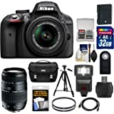 Nikon D3300 Digital SLR Camera Bundle with 18-55mm G VR DX II AF-S Zoom Lens, 70-300mm f/4-5.6 Di LD Macro Zoom Lens and Accessories – Black (15 Items)