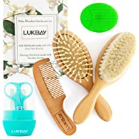 Toddler Hair Brush Comb Set-Complete Kit Baby Products Wooden Soft Bristle Brush Wooden Comb Baby Cradle Cap Silicone…