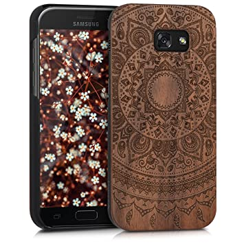 kwmobile Funda para Samsung Galaxy A5 (2017) - Carcasa de Madera - Case Trasero Protector Duro con diseño de Sol hindú