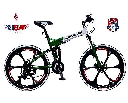 Virsilas Folding Mountain Bike - Full Suspension MTB - V1 Sport - Official Green