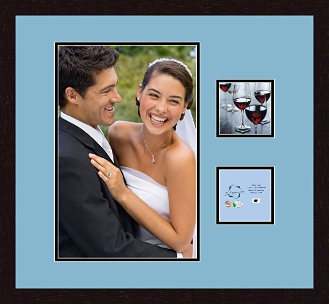 Art to Frames Double-Multimat-483-716//89-FRBW26061 Collage Frame Photo Mat Double Mat with 1-12x18 and 2-5x5 Openings and Espresso Frame