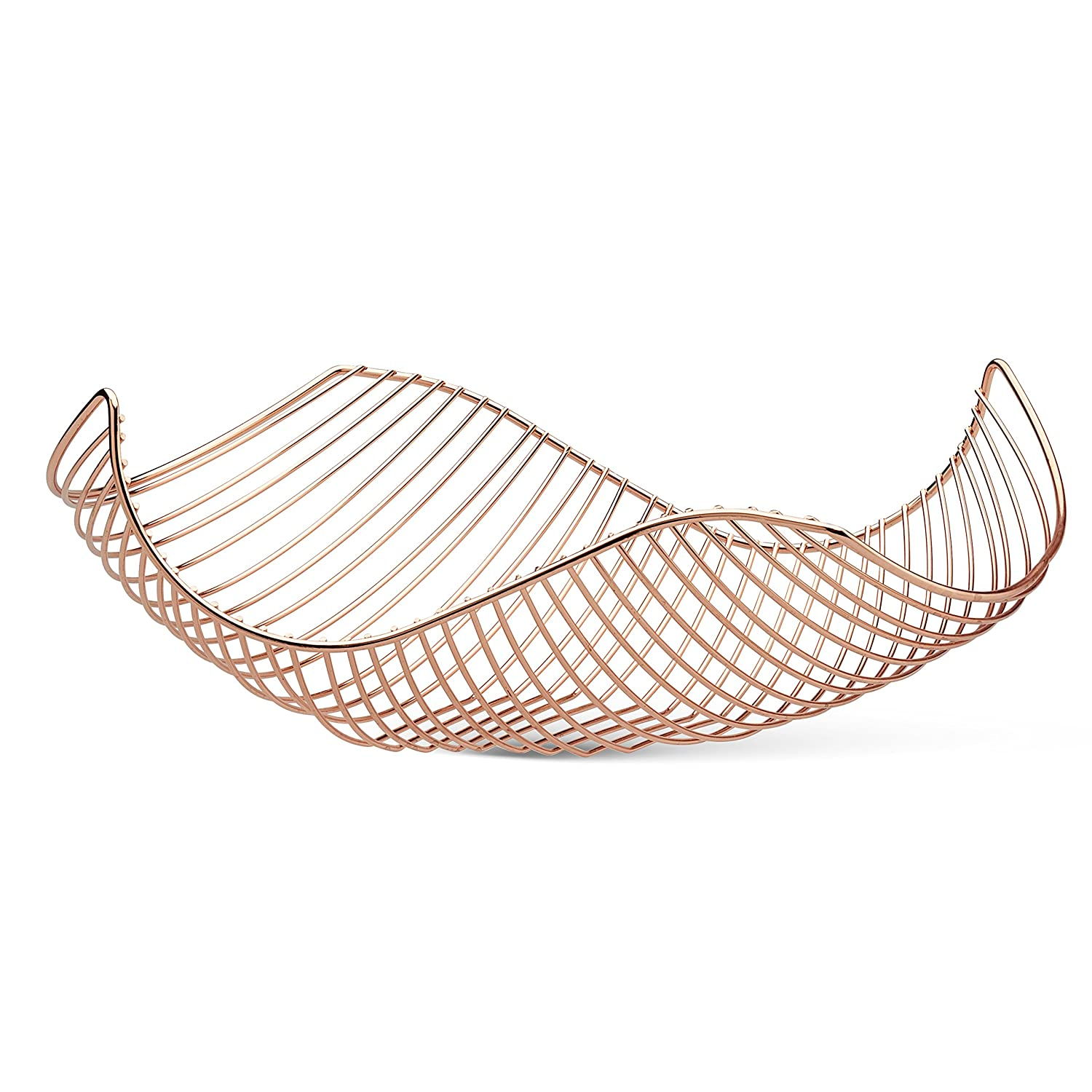 Vistella Fruit Bowl Basket in Copper Rose Gold - 5 Colors Available - Stainless Steel Wire Design with Modern Styling - Decorative Countertop Centerpiece