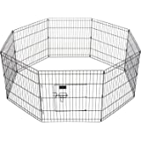 Ollieroo Dog Playpen Exercise Pen Cat Fence Pet Outdoor Indoor Cage 8 Panel Black E-coat Small