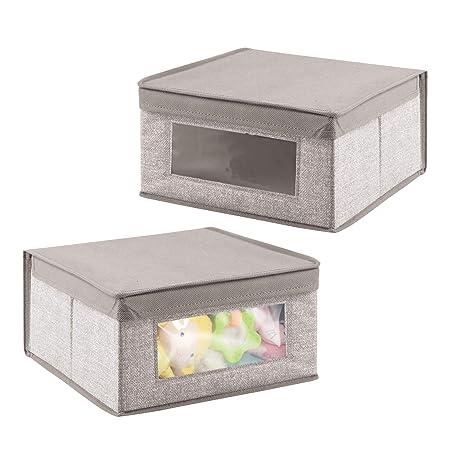 mDesign Juego de 2 cajas de tela para accesorios de bebé - Cajas organizadoras para
