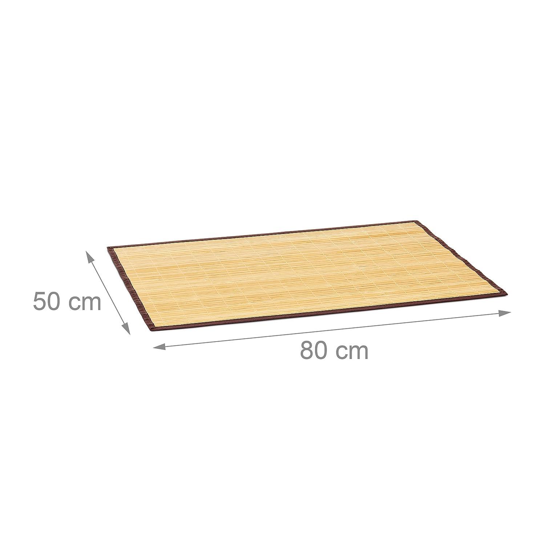 80x50 cm Badeteppich aus Holz mit rutschhemmender Unterseite als praktischer Duschvorleger aus nat/ürlichem Bambus und Stoff in verschiedenen Farben f/ürs Bad Natur Relaxdays Badvorleger Bambus BxT