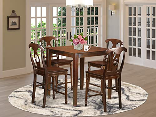 VNKE5-MAH-W 5 Pc counter height set – high Table and 4 Dining Chairs.