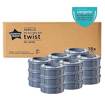 Tommee Tippee Sangenic Recambios Sistema avanzado para desechar pañales Twist & Click, paquete de 18 (compatibles con los contenedores Sangenic TEC y ...