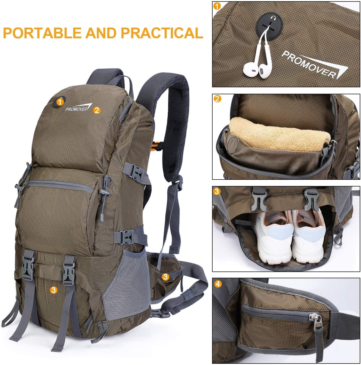 Promover 48L Outdoor Hiking Backpack Trekking Rucksack Travel Daypack Waterproof Sports Backpack for Climbing Camping Mountaineering Fishing Cycling Traveling Skiing