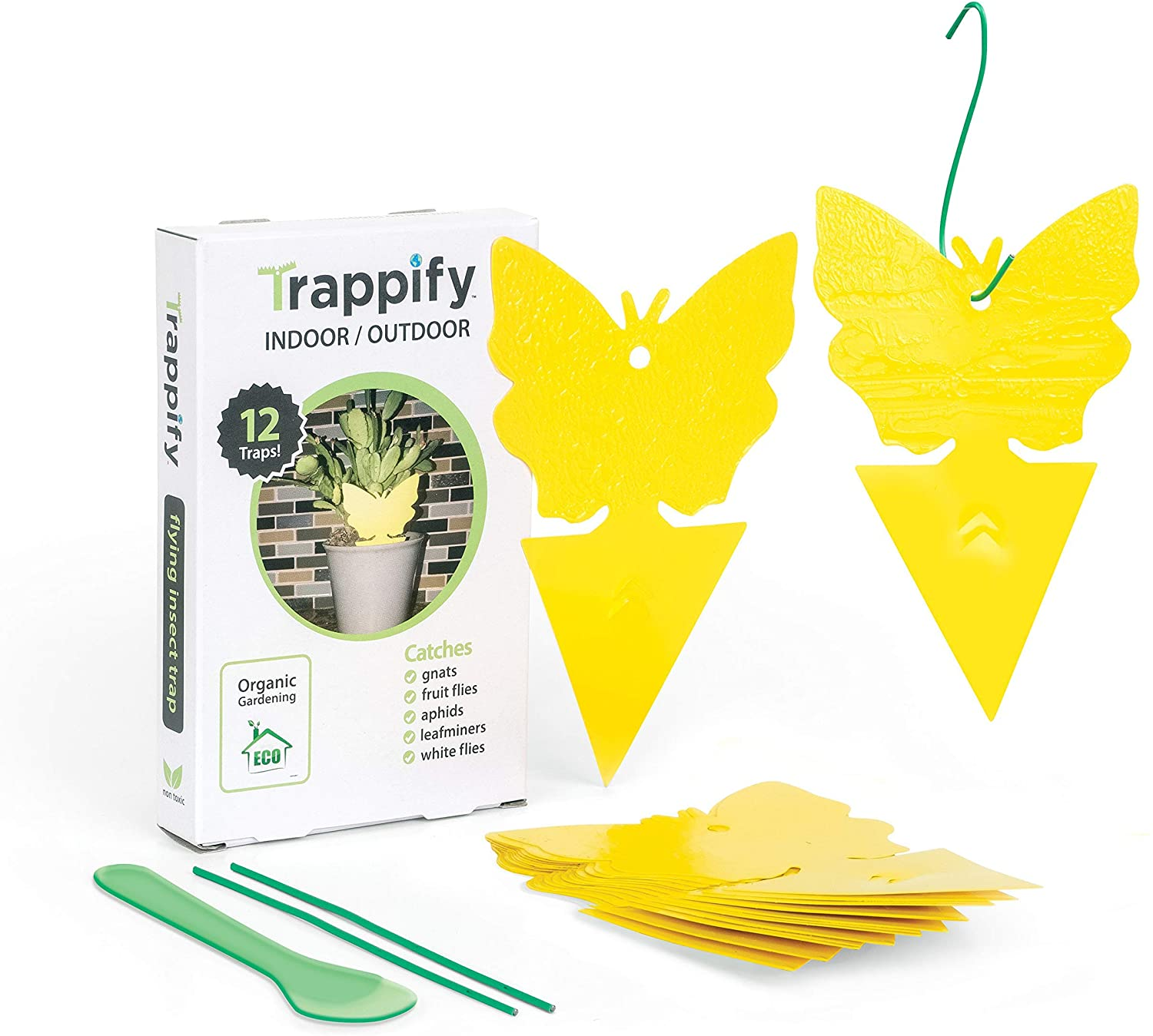 Trappify Sticky Fruit Fly and Gnat Trap Yellow Sticky Bug Traps for Indoor/Outdoor Use - Insect Catcher for White Flies, Mosquitos, Fungus Gnats, Flying Insects - Disposable Glue Trappers (12)
