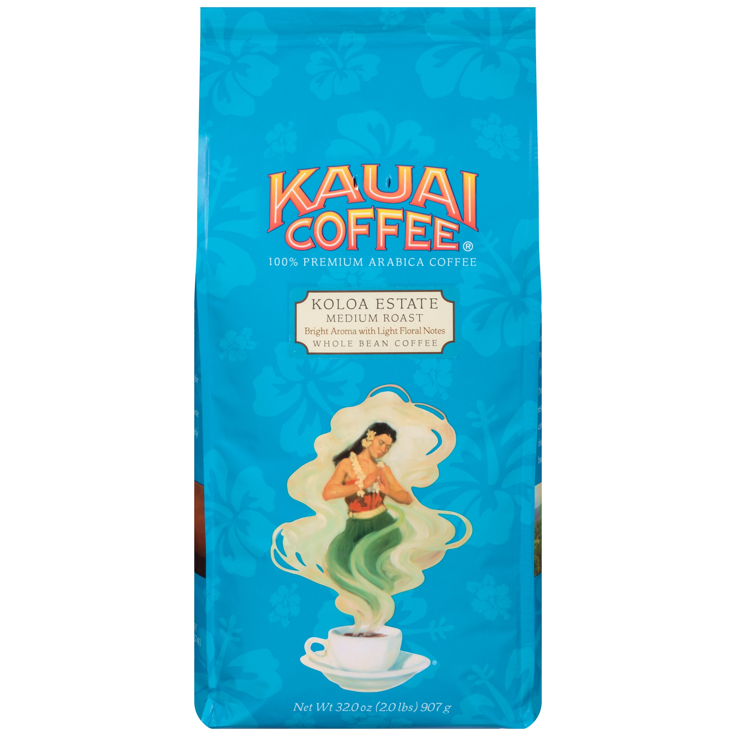 Kauai Whole Bean Coffee, Koloa Estate Medium Roast - 100% Premium Arabica Whole Bean Coffee from Hawaii's Largest Coffee Grower - Bright Aroma with Light Floral Notes (32 Ounces)