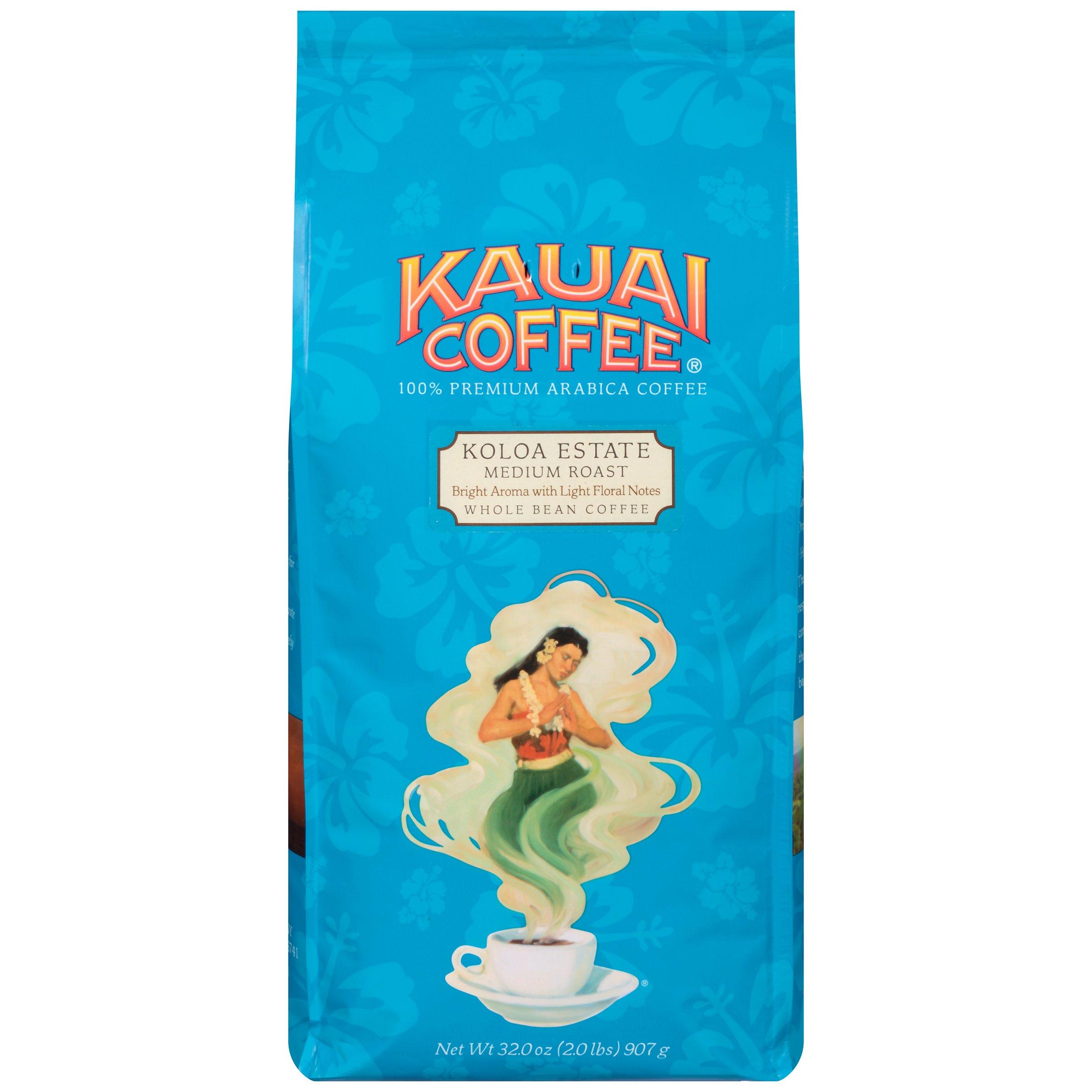 100% Kauai Whole Bean Coffee, Koloa Estate Medium Roast – 100% Premium Arabica Whole Bean Coffee from Hawaii's Largest Coffee Grower - Bright Aroma with Light Floral Notes (32 Ounces)