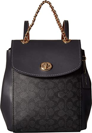ffbc1030505c COACH Women s Coated Canvas Signature Parker Backpack Gold Charcoal  Midnight Navy One Size