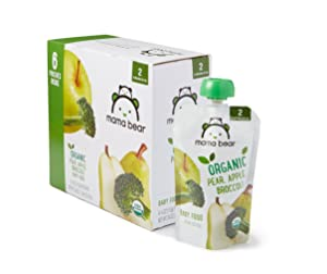 Amazon Brand - Mama Bear Organic Baby Food, Stage 2, Pear Apple Broccoli, 4 Ounce Pouch (Pack of 12)