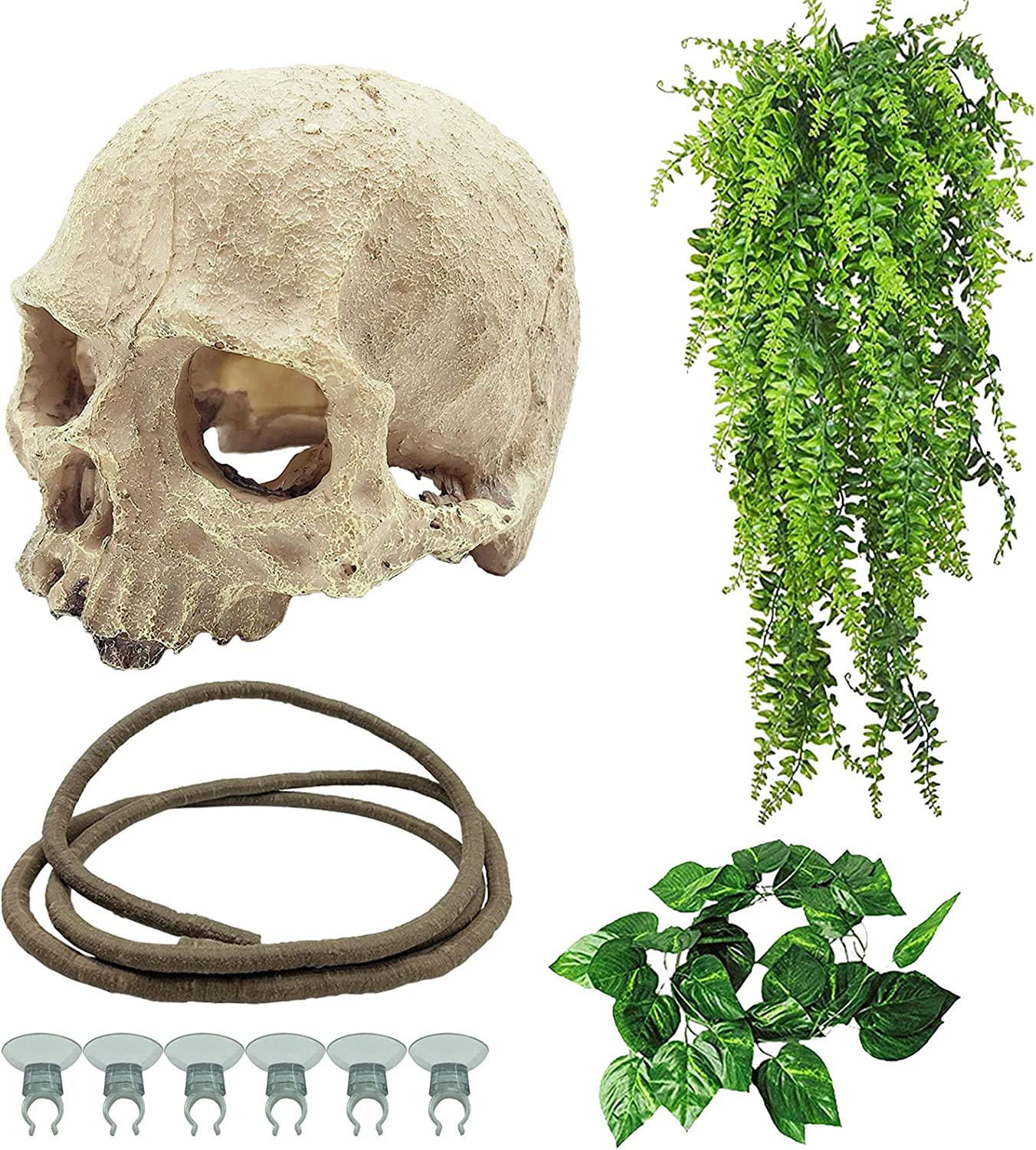 Tfwadmx Reptiles Skull Hide Decorations Bearded Dragon Tank Accessories Ornament Gecko Hideouts Cave Snake Habitat Jungle Climber Bendable Vines Leaves for Lizards,Chameleon,Spider (4 Pcs)