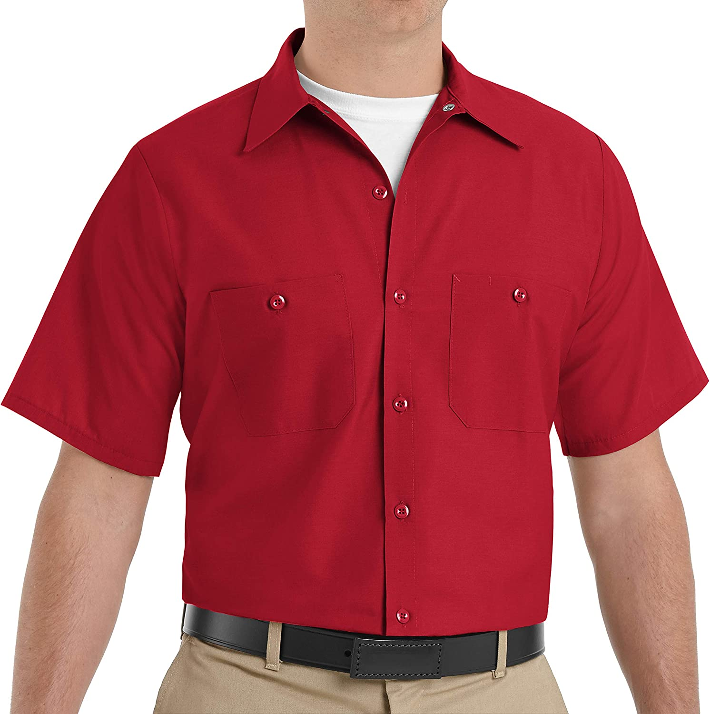 Red Kap Men's Size Industrial Work Shirt, Regular Fit, Short Sleeve, Large/Tall Red