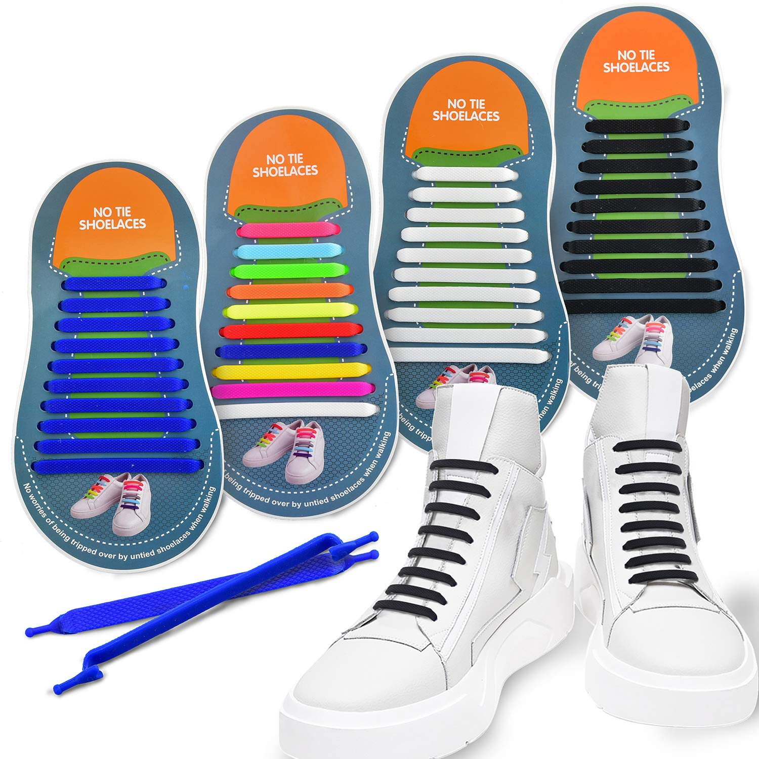 59fa6f817bce2 4 Pairs No Tie Shoelaces, Young Colorful Easy Shoelaces, Durable Adults  Tieless/Silicone Elastic Sports Fans Shoe Laces for ...