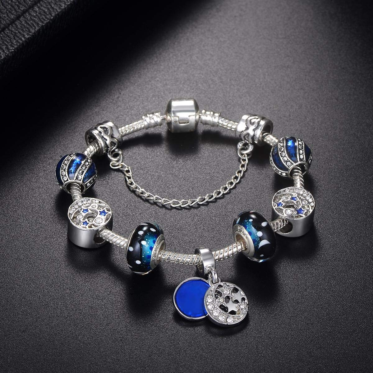 abab8e7d5 Pandora Style 925 Silver Plated Romantic Blue Night Sky Fashion Charm  Bracelet with CZ Moon Stars Hearts, Gift for Women and Teen Girls:  Amazon.ae: ...