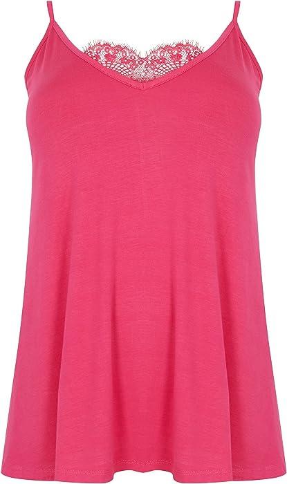 df0c4e15dc Yours Clothing Women s Plus Size London Hot Eyelash Lace Cami Top Size 16  Pink  Amazon.co.uk  Clothing